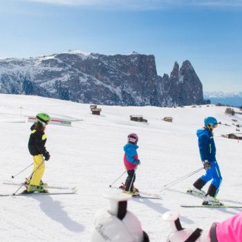 Sciare con la famiglia sull'Alpe di Siusi