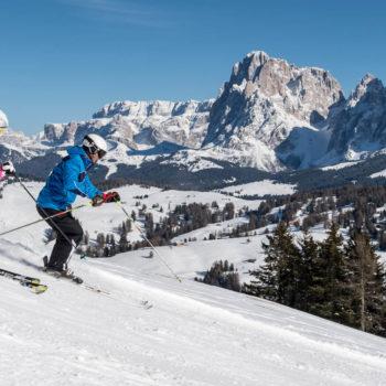 Skifahren auf der Seiser Alm nahe dem Lang- und Plattkofel