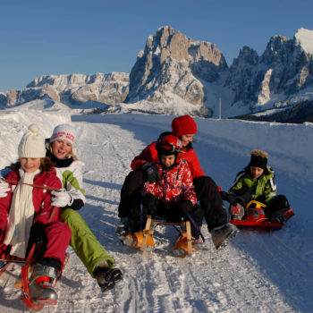 Andare in slitta sull'Alpe di Siusi